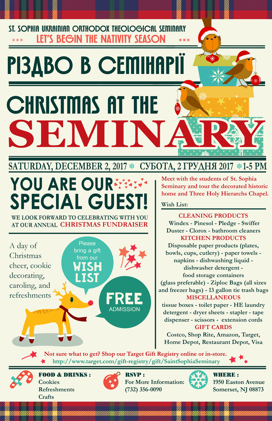 As we begin to prepare ourselves for the coming Nativity Season we hope that you will find the time once again to support St. Sophia Ukrainian Orthodox ...  sc 1 st  St. Sophia Seminary & St. Sophia Seminary - 2 December 2017 - Christmas at the Seminary